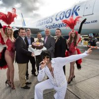 GLASVEGAS GLITZ AS THOMAS COOK AIRLINES INAUGURAL WEEKLY FLIGHT TO LAS VEGAS DEPARTS FROM GLASGOW AIRPORT