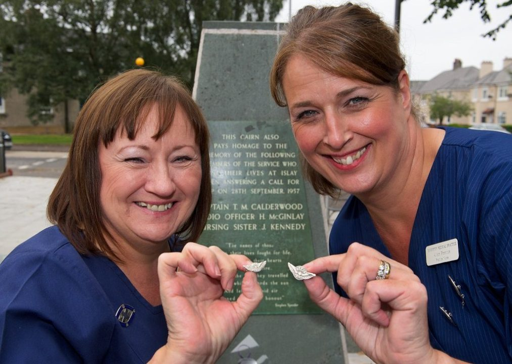 Nurse practitioners Lynn Jones and Alison Prentice with their Silver Wings- awarded for undertaking 10 flights