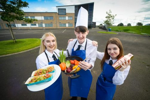 Linwood High School Pupils (L-R) Emile McEwan (14), Evan Thompson (17) and Necole Wilson (15) had the chance to Taste the Industry as they made Mexican street food and mocktails, alongside masterclasses in service, catering and more
