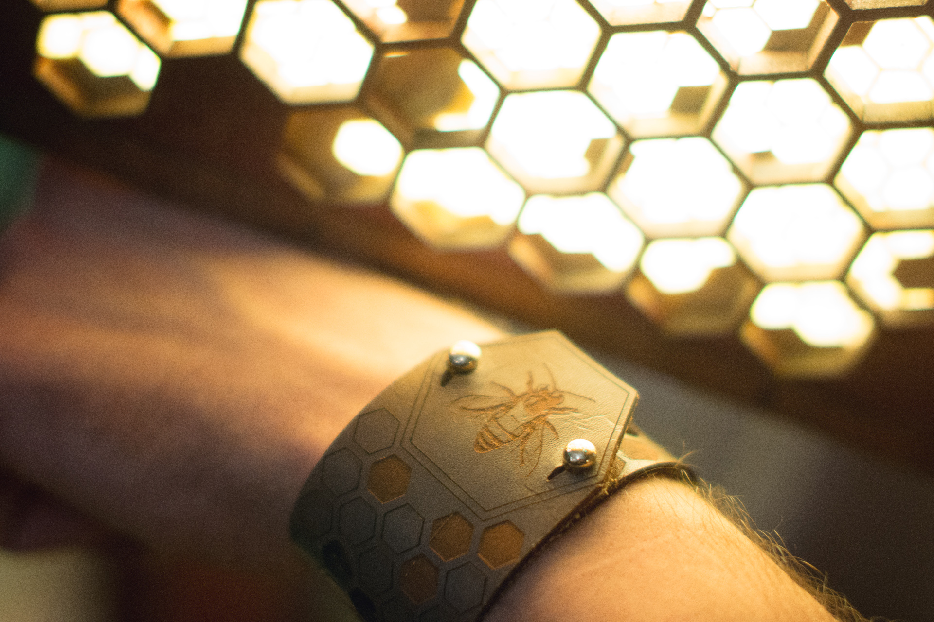 Leather and Brass Honeybee Cuff