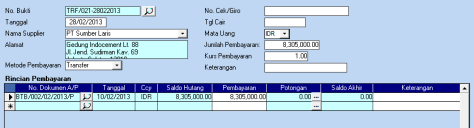 pembayaran hutanga
