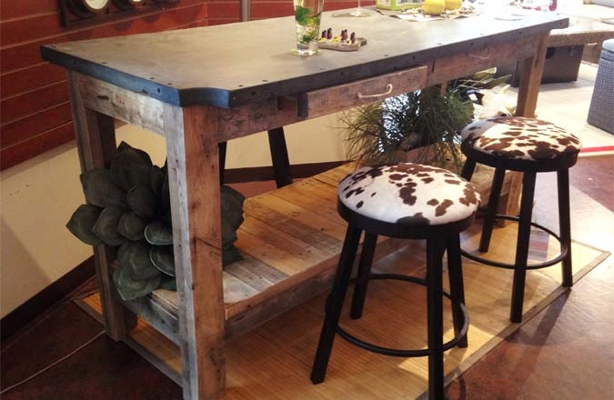 Industrial Bar Table  Recycled Wood And Repurposed Slate