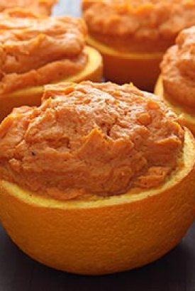 Orange-Maple Sweet Potatoes in Orange Cups