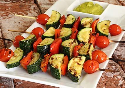Paleo Veggie Kabobs with Avocado Sauce