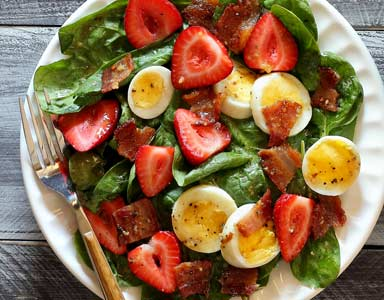 Paleo Warm Bacon Dressing Over Spinach Salad Recipe