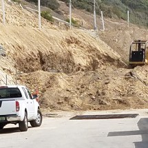 Dirt has been removed from the toe of the Asilomar hillside in Palisades Bowl Mobile Home Park.