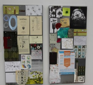 Rachelle Doorley's inspiration boards in the Tinkerlab space at Cubberly Artist Studio