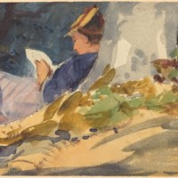 Follower of John Singer Sargent (American, 1856 - 1925 ), Resting, c. 1880-1890, watercolor over graphite on wove paper, Joseph F. McCrindle Collection