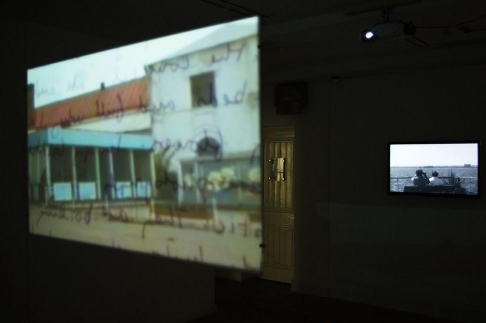 Hotel Minerva, 2 channel video installation. View of installation, Sheffield, Pam Skelton, 2011.