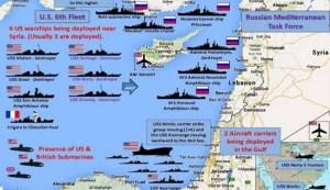 بالصور: إنتشار بوارج ومدمرات امريكا وروسيا بالبحر المتوسط