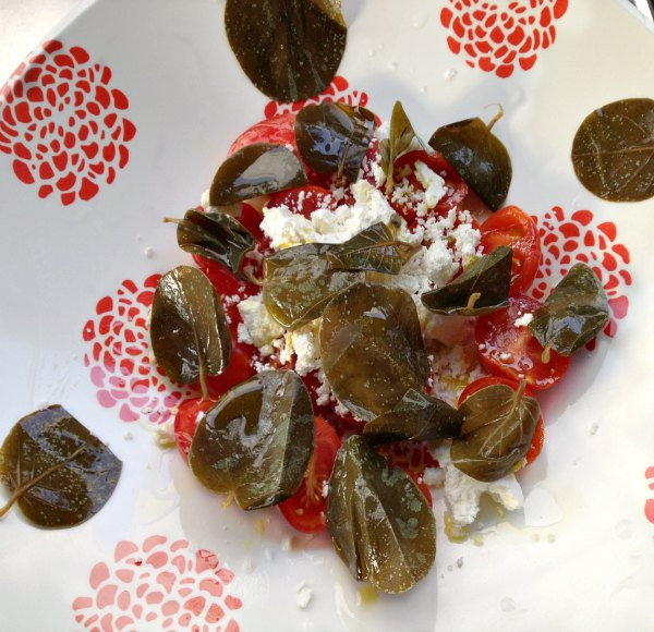 power σαλάτα με ντοματίνια, καπαρόφυλλα και μανούρι