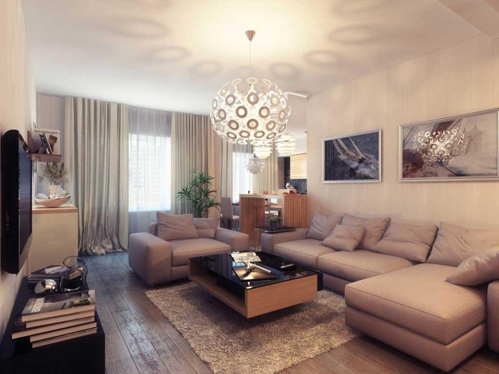 model ruang tamu minimalis dengan lampu hias bola desain