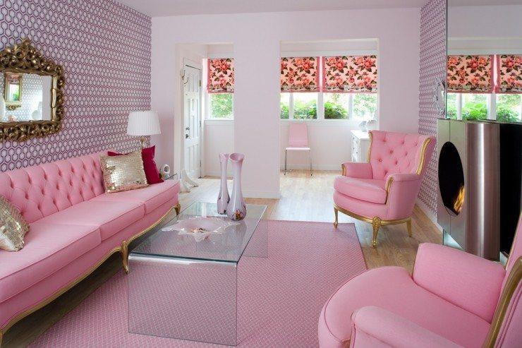 foto ruang keluarga dengan aksen pink desain gambar