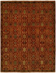 Cinnabar Red Field - Brown Border area rug