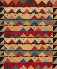 Modern Tribal Design - Ten and Multi Colored area rug