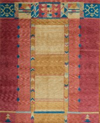 Rust Red with Blue and Gold Accents area rug