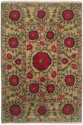 Sand Tan Field with Red and Green Accents area rug