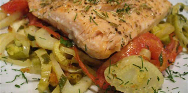 Pan-fried Salmon with Horseradish Mashed Potatoes, Asparagus and Charred Bell Peppers Recipe