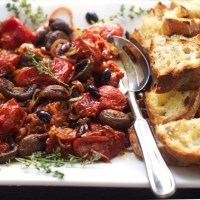 ROASTED TOMATOES and MUSHROOMS with GRILLED BREAD