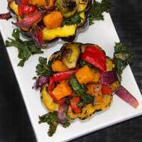 ROASTED SQUASH STUFFED with ROASTED VEGETABLES