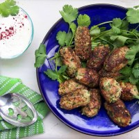 TURKEY ZUCCHINI MEATBALLS with LEMONY YOGURT SAUCE