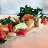 CANYON RANCH SHRIMP with WHITE BEANS and KALE