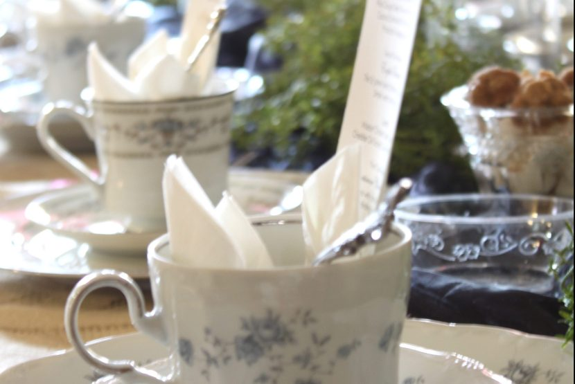 tea cups and sugar cubes