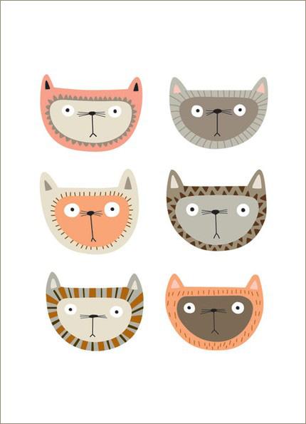 Cat Face Digital Print by Kate Larsen