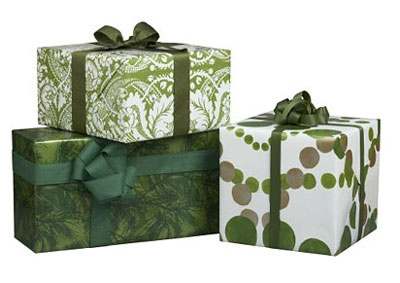 Crate and Barrel Gift Wrap Green