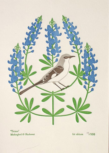 Dutch Door State Bird Letterpress