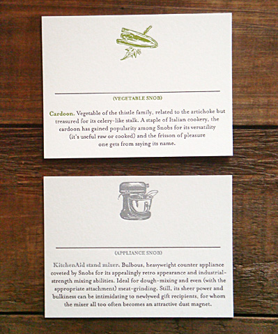 Letterpress Food Snob Place Cards