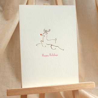 1915 Press Letterpress Reindeer Card