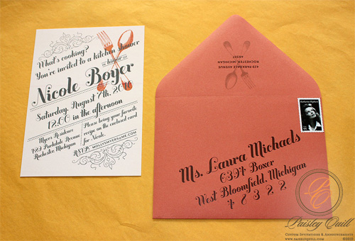 Cooking Themed Bridal Shower Invitations by Paisly Quill