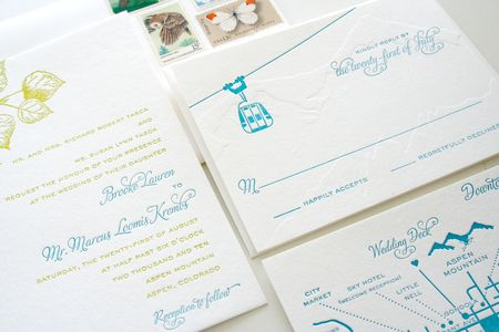 Parrott Aspen Letterpress Wedding Invites