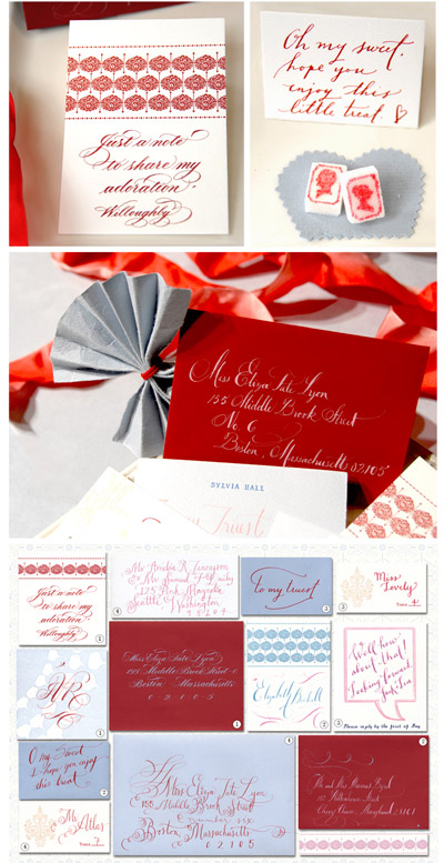 Red Blue Calligraphy Mr. Boddington