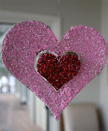 Valentine's Day Glitter Ornaments