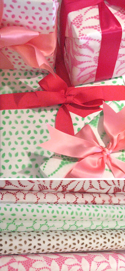 DIY Painted Lace Wrapping Paper
