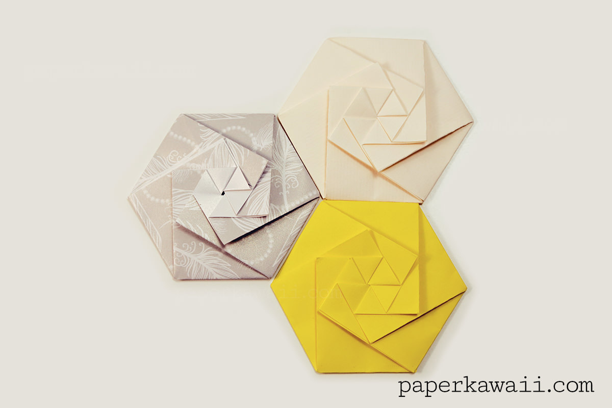 Hexagon Diamond Origami Box Instructions Hexagonal Caja El Arte Tomoko Fuse Envelope Tutorial Video Paper Kawaii View Large