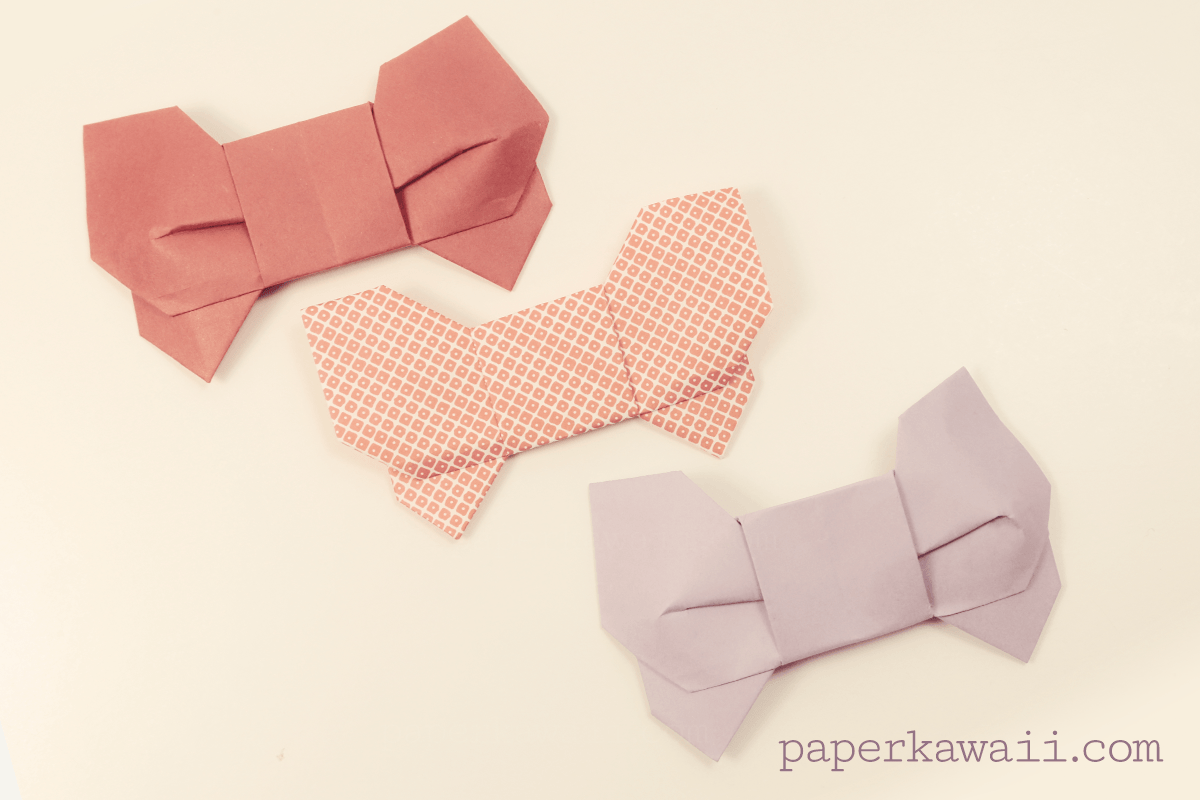 Origami 3d bow video tutorial paper kawaii - Origami paper tutorial ...