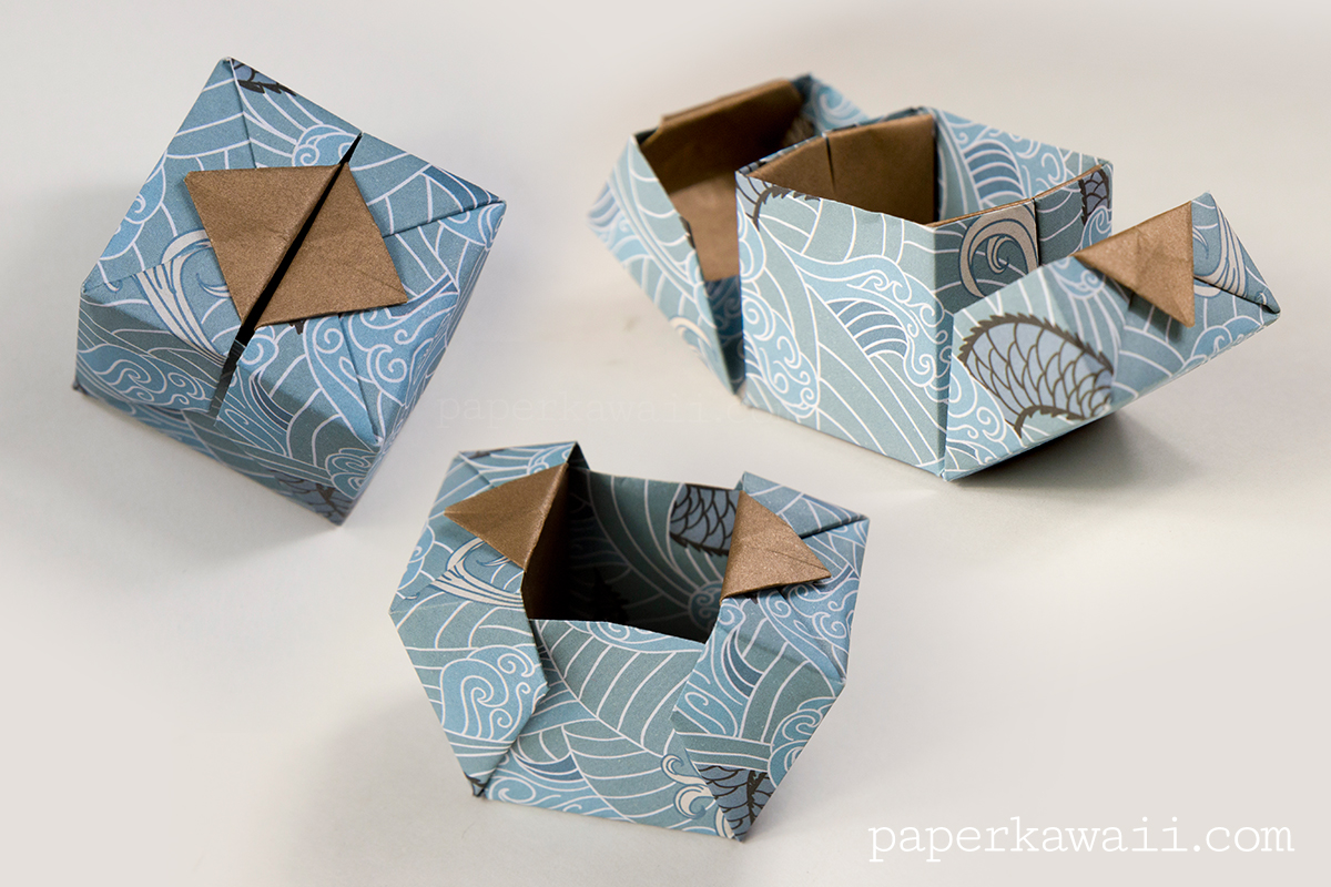 Origami hinged box video tutorial paper kawaii - Origami paper tutorial ...