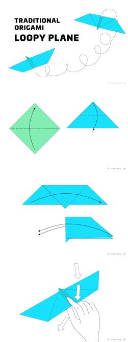 Origami Loopy Aeroplane Diagram - Paper Kawaii #origami #diagram