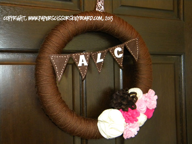 Felt and Yarn Baby Shower Wreath