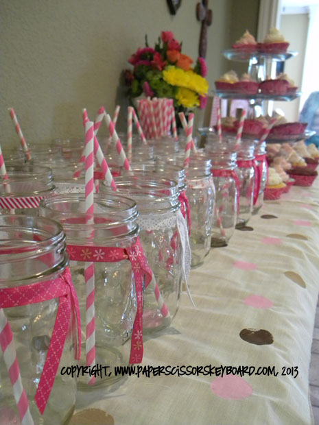 Mason Jars Pink and Brown