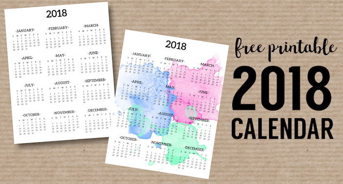 Calendar 2018 Printable One Page - Paper Trail Design