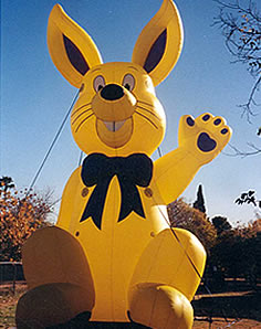 25 feet tall yellow color bunny inflatable.