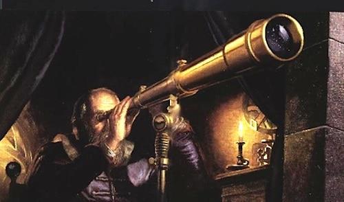 Galilée passant ses journées sur sa lunette astronomique au lieu d'aller dehors jouer au foot.