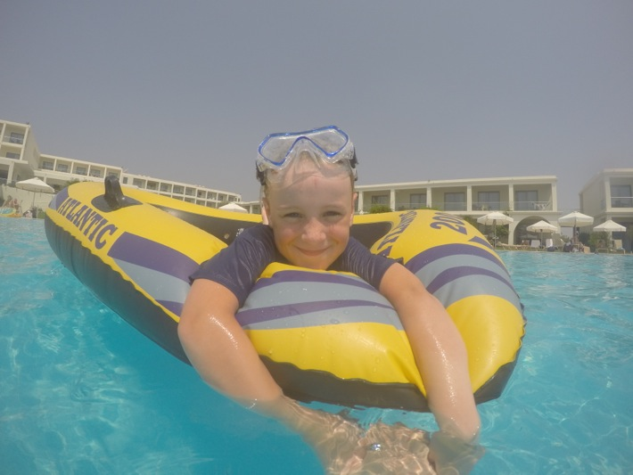 dinghy playing in the pool at Mark Warner Levante