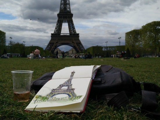 Sketching the Eiffel tower...with wine
