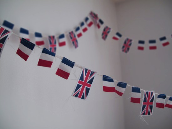 French-English bunting made from ribbon