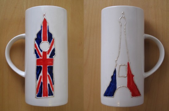 French-English hand painted mugs